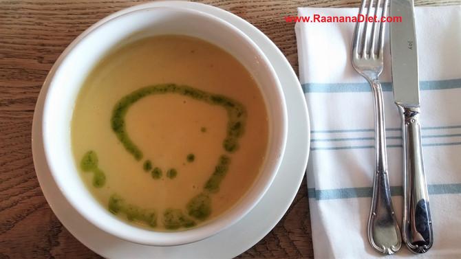 Суп-пюре из желтой чечевицы с песто