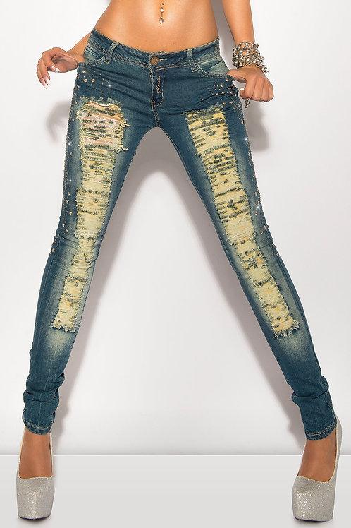 Sexy KouCla Jeans mit Rissen und Strass