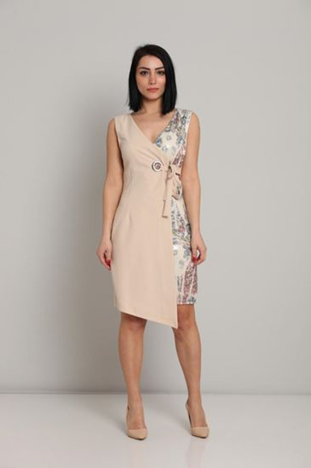 Biscuit Asymmetrical Sleevless Night Wear Going Out Dresses