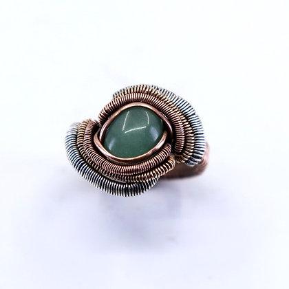 Fine silver, bronze & copper ring - green adventurine