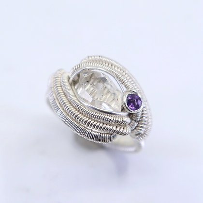 Fine and sterling silver ring - herkimer diamond and Amethyst