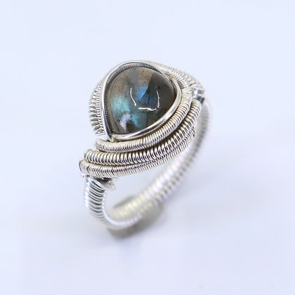 Fine and sterling silver ring - labradorite #2