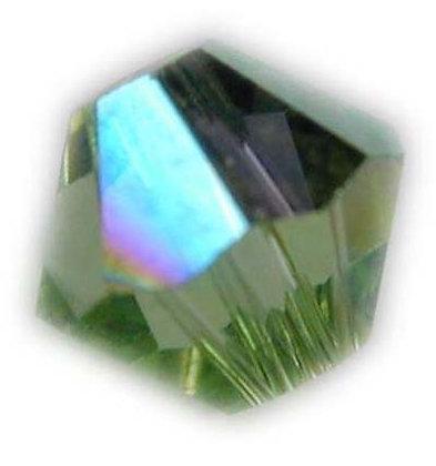 Swarovski 4mm bicone crystal -Peridot AB