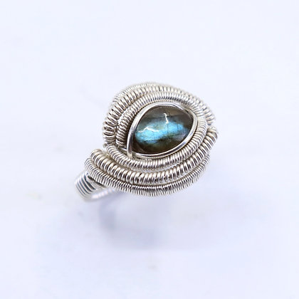 Fine and sterling silver ring - labradorite
