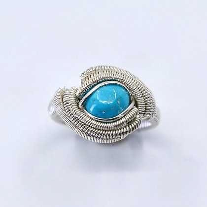 Fine and sterling silver ring - sleeping beauty turquoise