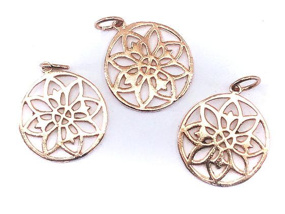 Solid copper mandala  pendant