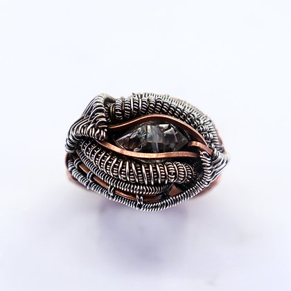 Fine silver & copper ring - herkimer diamond