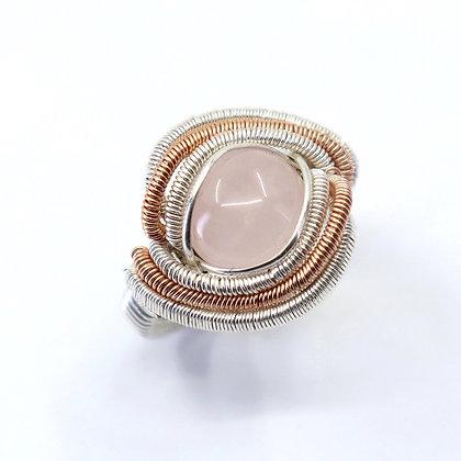 Fine, sterling silver & pink gold filled ring - pink quartz