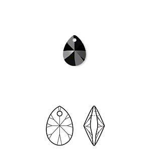 Swarovski® crystals, 8mm x 6mm teardrop pendant - 6 option