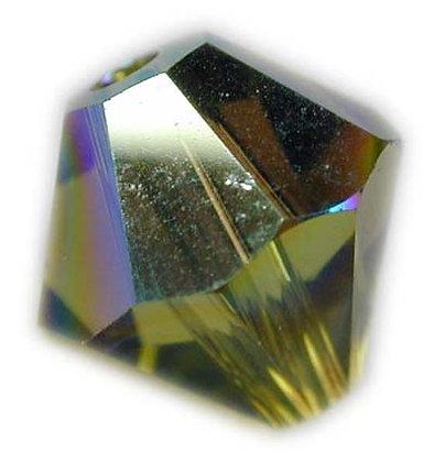 Swarovski 6mm bicone crystal -Olivine AB