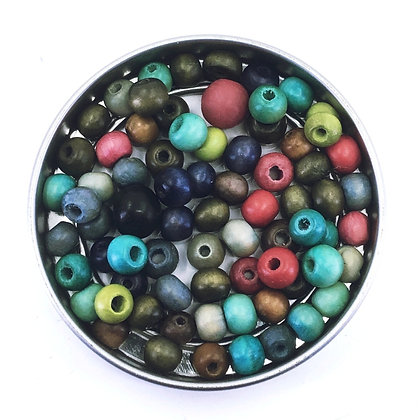 6mm assorted vegetable dyed wooden beads