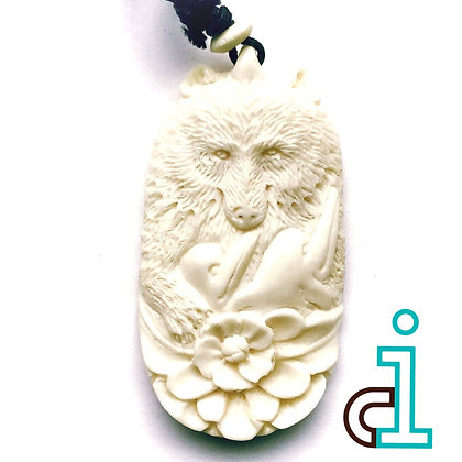 Bali Bear and Dolphin Necklace- hand carved