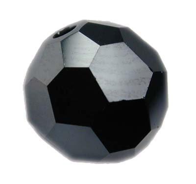 Swarovski 6mm round crystal -Jet Hem 2x -