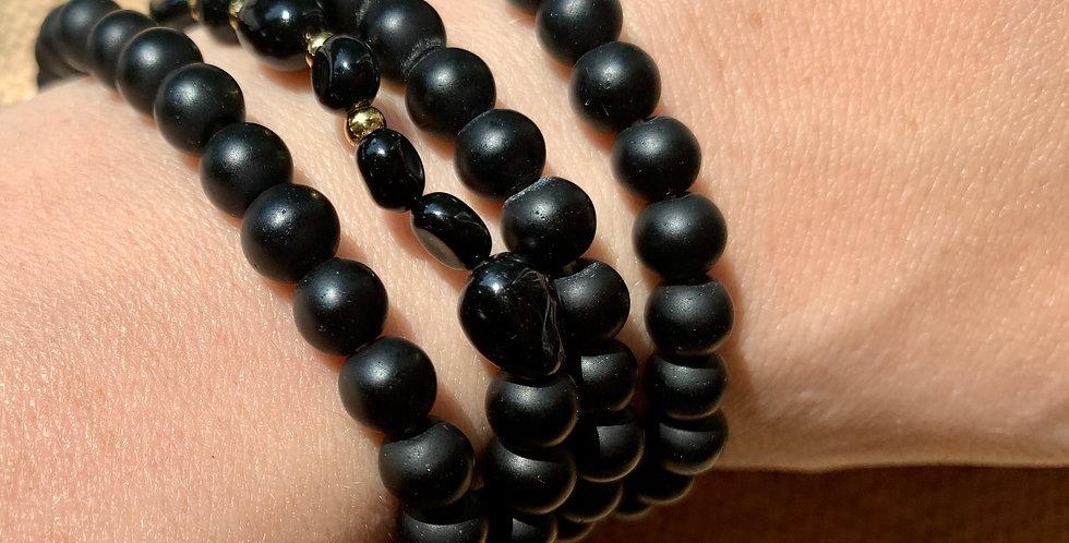 Black Agate Wrist Mala