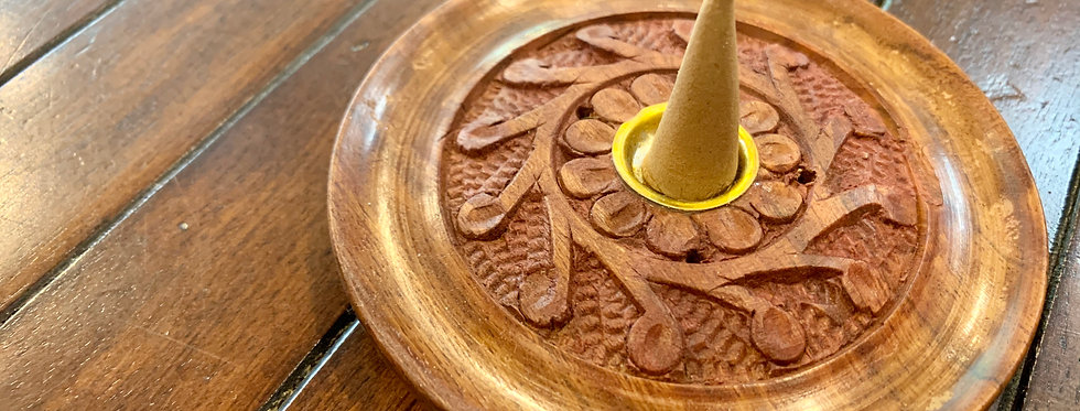 Round Wooden Incense Burner