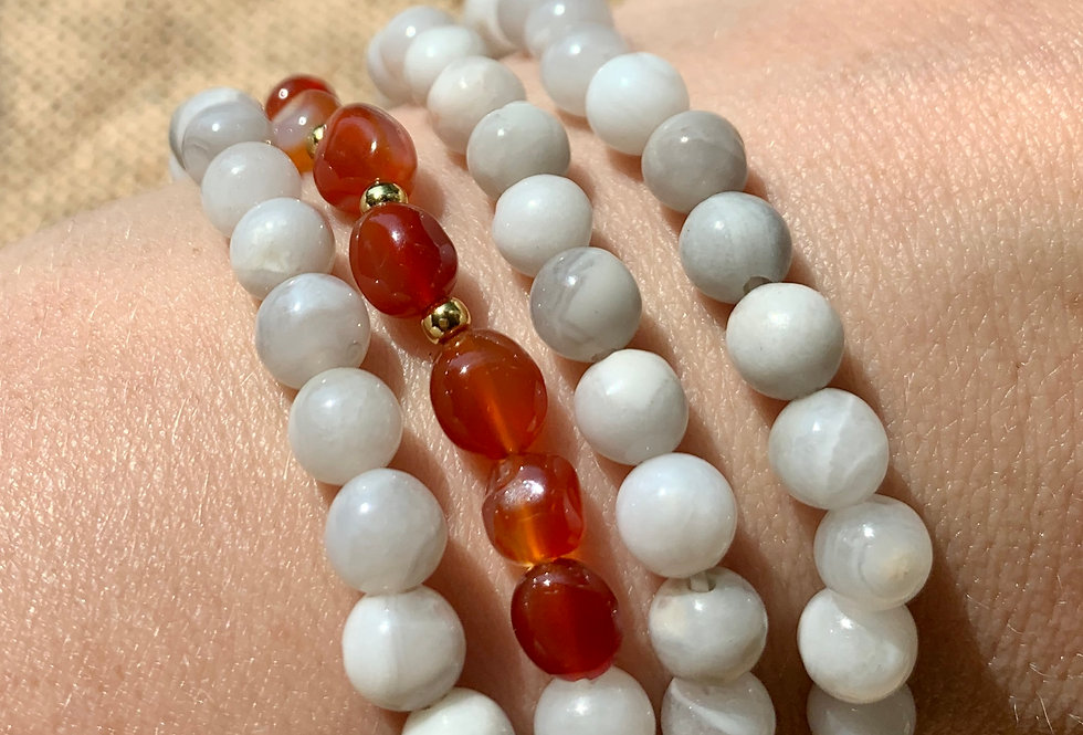 White Agate and Carnelian Wrist Mala