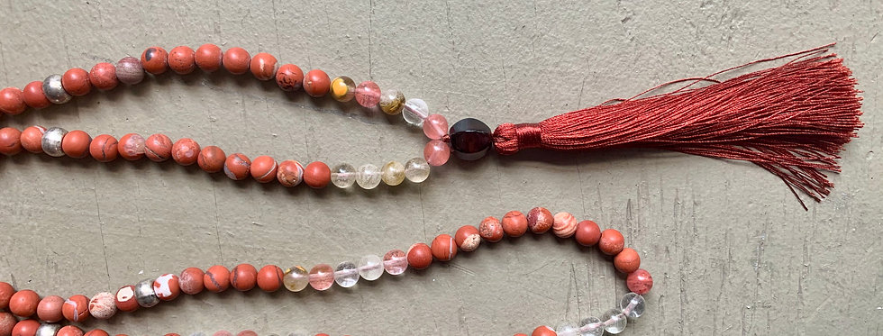 Red and Watermelon Agate Mala