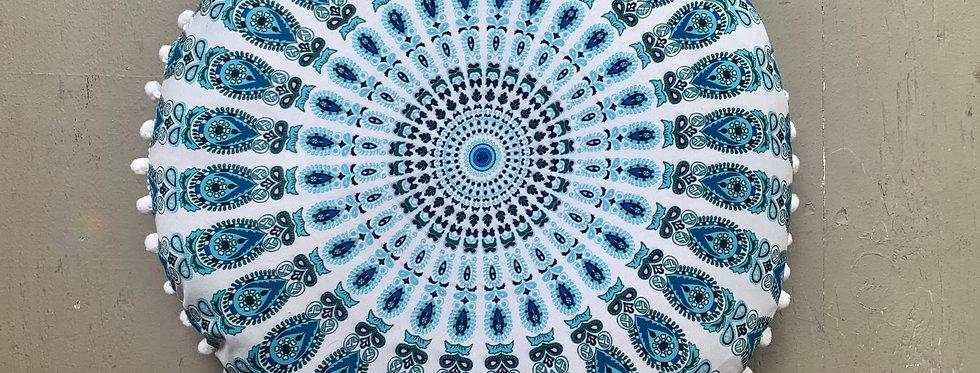 Mandala Meditation Cushion, White/Blue