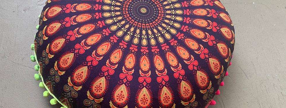 Mandala Meditation Cushion, Orange/Purple