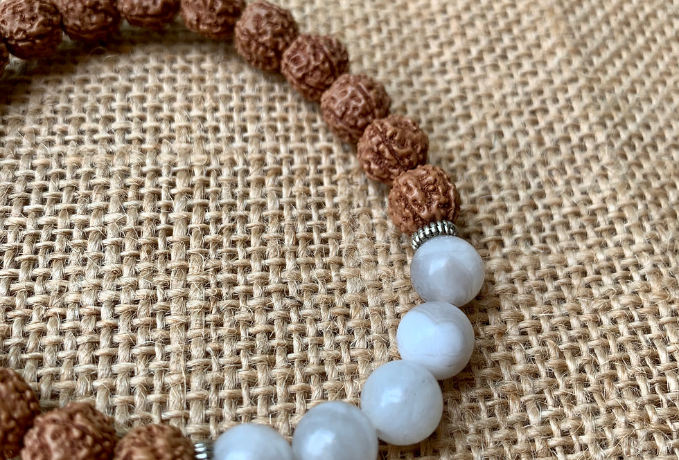 Rudraksha and White Agate Bracelet
