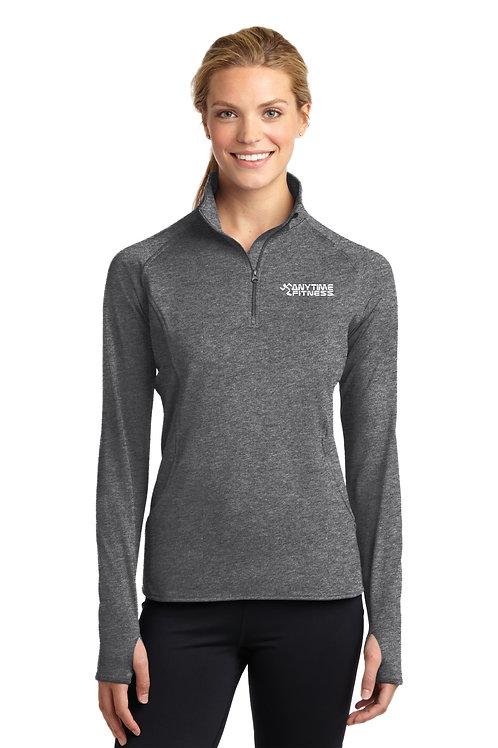 Sport-Tek® Ladies Sport-Wick® Stretch 1/2-Zip Pullover - Charcoal