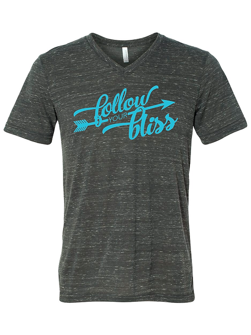Follow Your Bliss - V neck - Charcoal Marble
