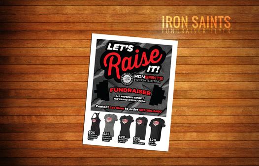 Iron Saints Weightlifting Fundraiser Flyer
