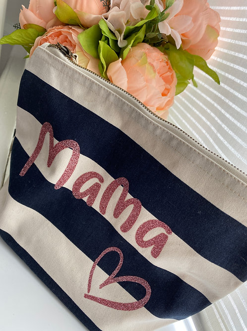 Personalised make up bag - striped