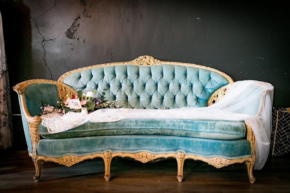 Austin Stuart Photo blue velour sofa