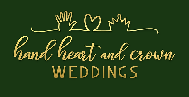 hand heart and crown weddings logo