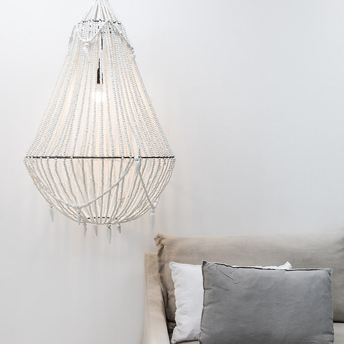 Large White Beaded Chandelier