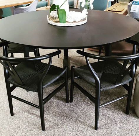 American Oak with Black Round Table