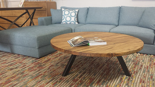 Marri Round Coffee Table with Metal Base