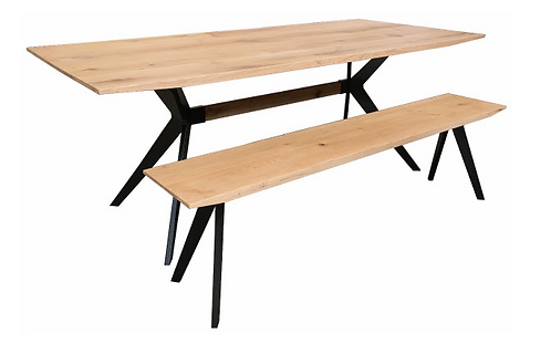 Oak & Iron Table with Bench Seat