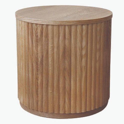 Ribbed Oak Side Table
