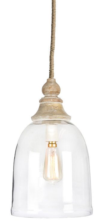 Glass & Timber Pendant Tall