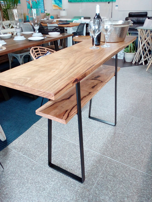Marri Bar Bench Console with Metal Frame