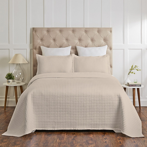 Quilted Coverlet 400TC Beige