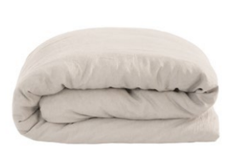 French Flax Linen Quilt Cover Set Pebble