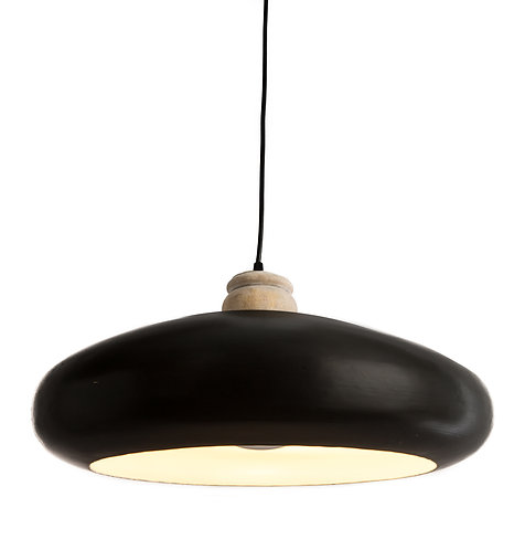 Black & Timber Pendent Large Round