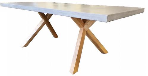 Concrete Table with Oak Leg