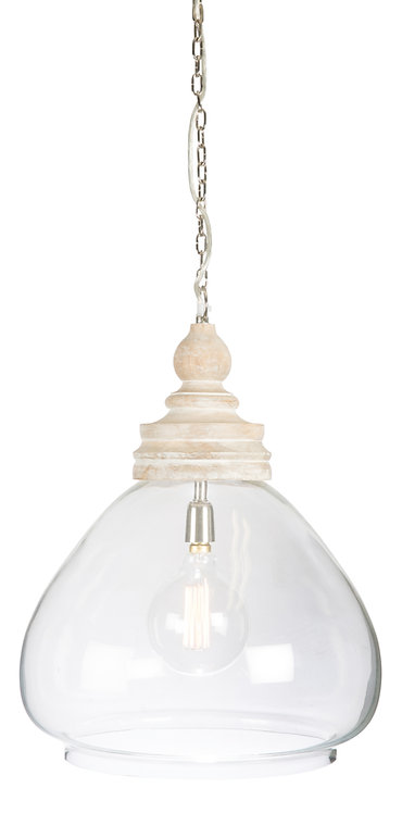 Glass & Timber Pendant Round
