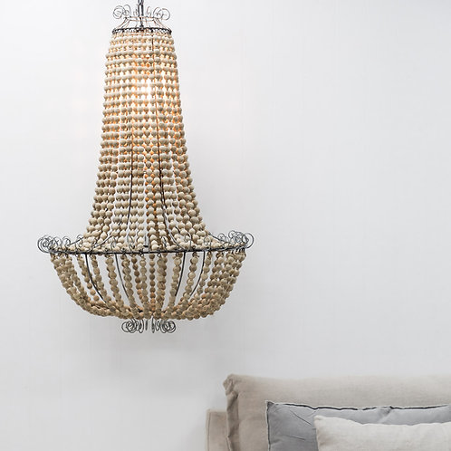 Large Natural Beaded Chandelier