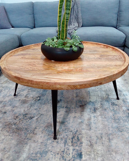Wesley Mango Wood Round Coffee Table