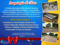 Prefeitura realizará inauguração de obras nesta sexta-feira, 19