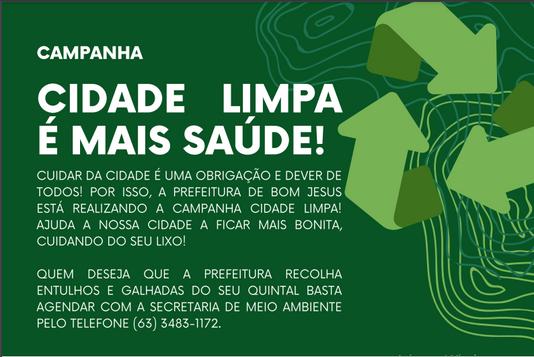 Prefeitura de Bom Jesus do Tocantins lança campanha Cidade Limpa