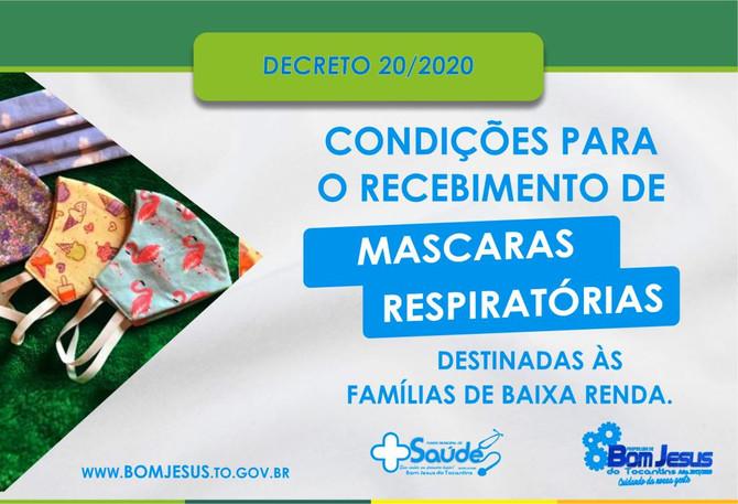Prefeitura de Bom Jesus distribuirá mascaras respiratórias gratuitamente
