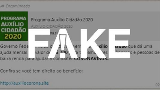 Cadastro do Programa Auxílio Cidadão é Fake News