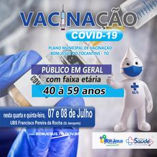 Saúde amplia vacinação contra Covid para população acima de 40 anos