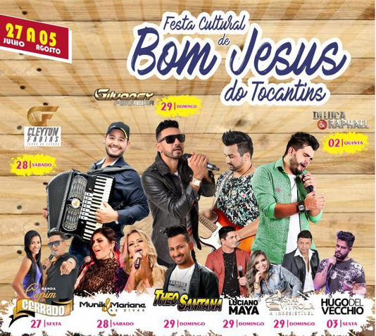 Prefeitura divulga atrações da 2ª Festa Cultural de Bom Jesus do Tocantins, com início nesta sexta-f